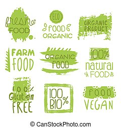 Farm Vegan Food Green Set Of Label