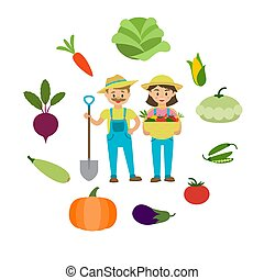 Farm vegetables and farmers family vector illustration. Cartoon man and woman with fresh farm grown vegetables in basket and around. Beet, carrot, corn and tomato and pumpkin.