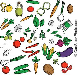 Farm vegetables and herbs sketches