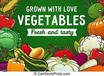 Farm vegetables, fresh food of organic garden