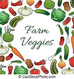 Farm vegetables poster, vegetarian food background