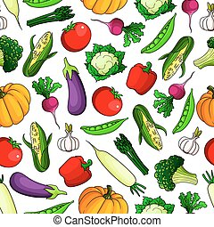 Farm vegetables seamless pattern background.