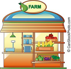 Farm vegetables street shop icon, cartoon style - Farm...