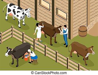 Farm Veterinary Isometric Composition