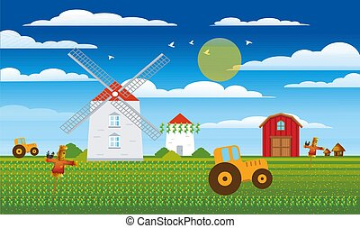 farm view with crops and vehicles