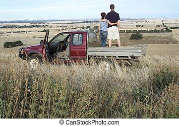 Farm Views - An Australian farmer and his wife stop to take ...