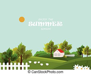 Farm village in summer season Vector. Beautiful backgrounds