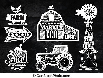 Farm vintage chalk - Farm characters in vintage style...