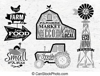 Farm vintage - Farm characters in vintage style lettering in...