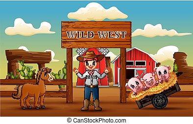 Farm wild west background with cowboy and animals