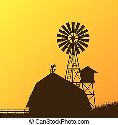 Farm windmill, barn, fence, house, field