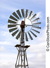 Close-up of an old fashioned farm windmill