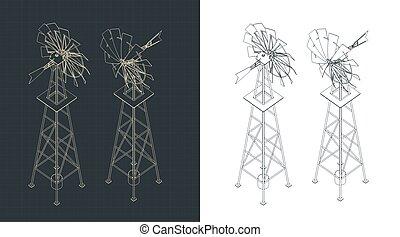Farm windmill isometric drawings