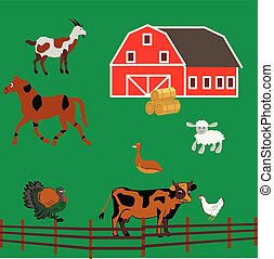 Farm with animals, barn, cow, horse, chicken, sheep, turkey.