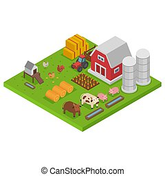 farm with animals, colorful isometry, isometric agriculture concept, natural habitat, design, cartoon style vector illustration.