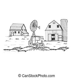 Farm with barn and windmill. Hand drawn vector illustration