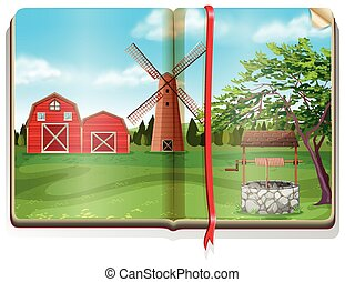 Farm with barn and windmill on the book