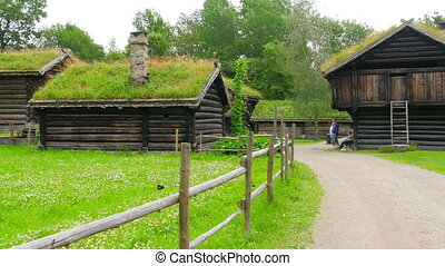 """""""farm with beautiful norwagian village green grass rooftop, norway, 4k"""""""