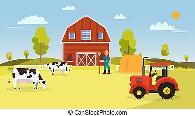 Farm with cows ,tractor, barn , farmer and hays. Landscape with farm vector illustration. Nature farm in summer