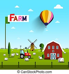 Farm with Cows, Tractor, Windmill and Barn. Rural Vector Landscape with Blue Sky above Green Field.