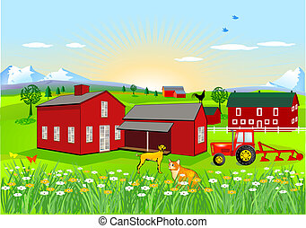 Farm with Dog and Cat