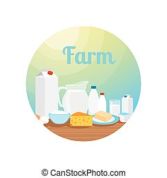 Farm with milk food circle icon