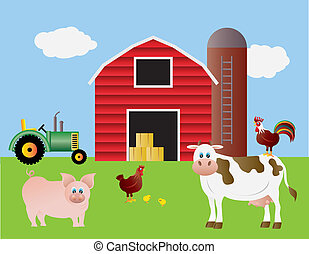 Farm with Red Barn and Animals - Farm with Red Barn Tractor...