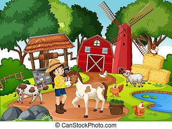 Farm with red barn and windmill scene