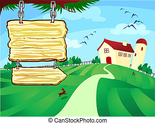 Farm surrounded by fields with signs hung vector