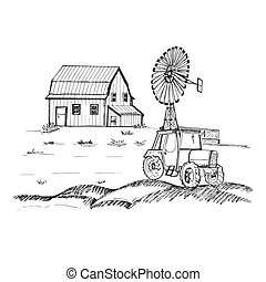 Farm with tractor and windmill, hand drawn vector illustration