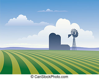Farm With Windmill - Farm landscape showing rows of crops...