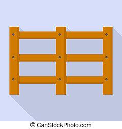 Farm wood barrier icon, flat style