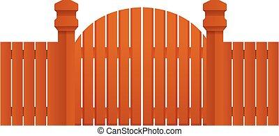 Farm wood gate icon, cartoon style