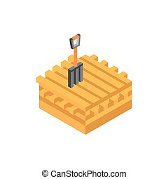 farm wooden stowage pitchfork tool isometric icon
