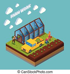 Farm Work Isometric Composition