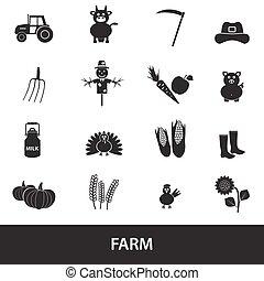 farma, čerň, jednoduchý ikona, dát, vektor, eps10