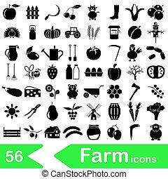 farma, a, zemědělství, big, jednoduchý ikona, dát, vektor, eps10