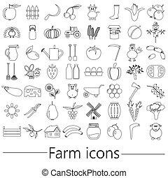 farma, a, zemědělství, big, jednoduchý, nárys, ikona, dát, vektor, eps10