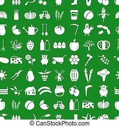farma, a, zemědělství, jednoduchý ikona, dát, vektor, seamless, model, eps10