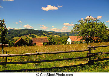 farma, dřevěný, ohrazený, kopec, ohradit