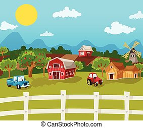 farma, karikatura, grafické pozadí