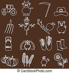 farma, neposkvrněný, a, hněď, jednoduchý, nárys, ikona, dát, eps10