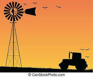 farma, západ slunce