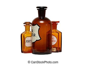 farmacéutico, antiguo, phials