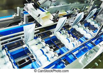 farmacéutico, botella, producción de medicina, línea,...