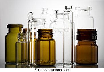 farmacéutico, frascos