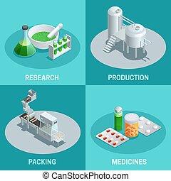 farmacéutico, isométrico, 2x2, compositions, producción