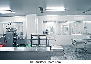 farmacéutico, línea, producción, técnicos, trabajando