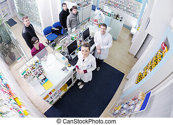 farmacéutico, médico, droga, farmacia, sugerir, comprador, farmacia