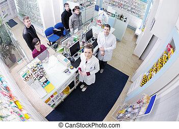 farmacéutico, sugerir, médico, droga, a, comprador, en, farmacia, farmacia